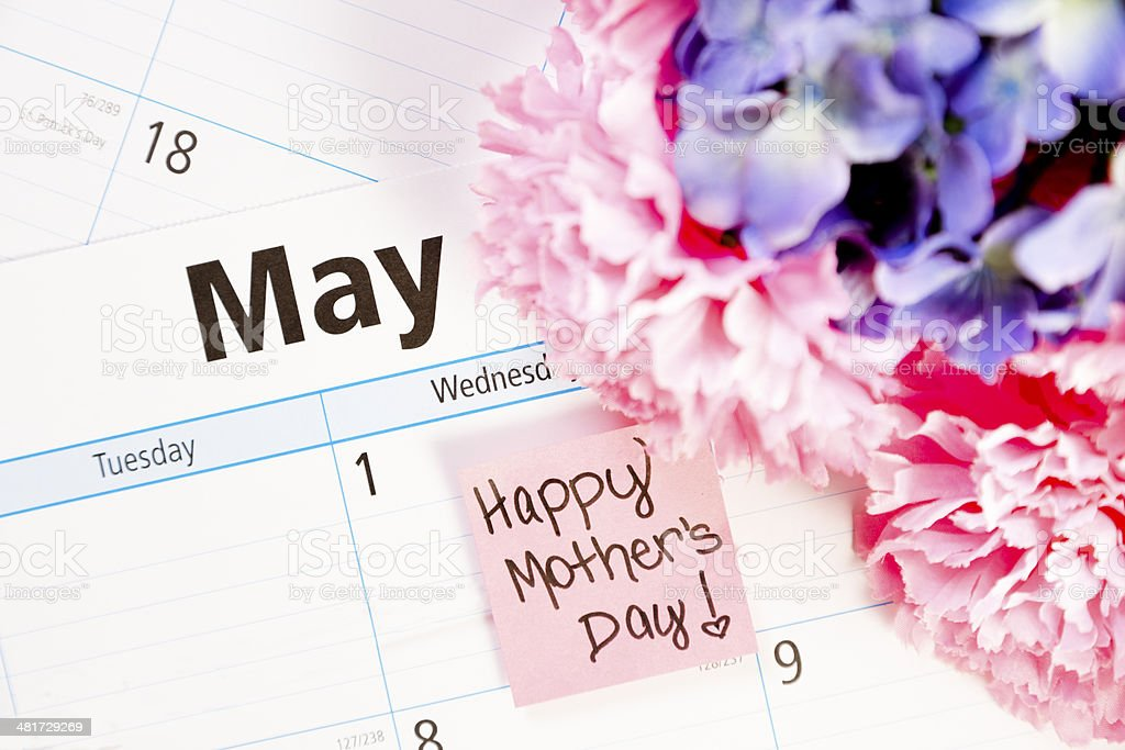 Holidays:  Flowers on May calendar.  Mother's Day! royalty-free stock photo