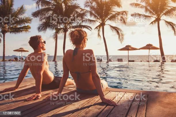 Photo of holidays for couple, beach honeymoon in luxury hotel