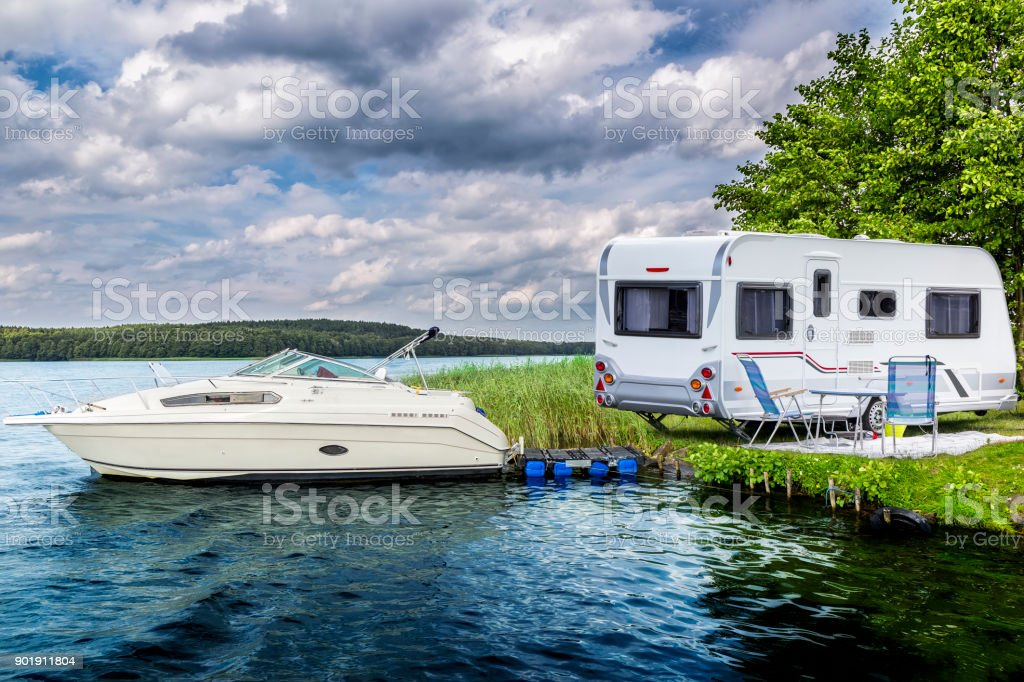Holidays in summer at the lake, Germany stock photo