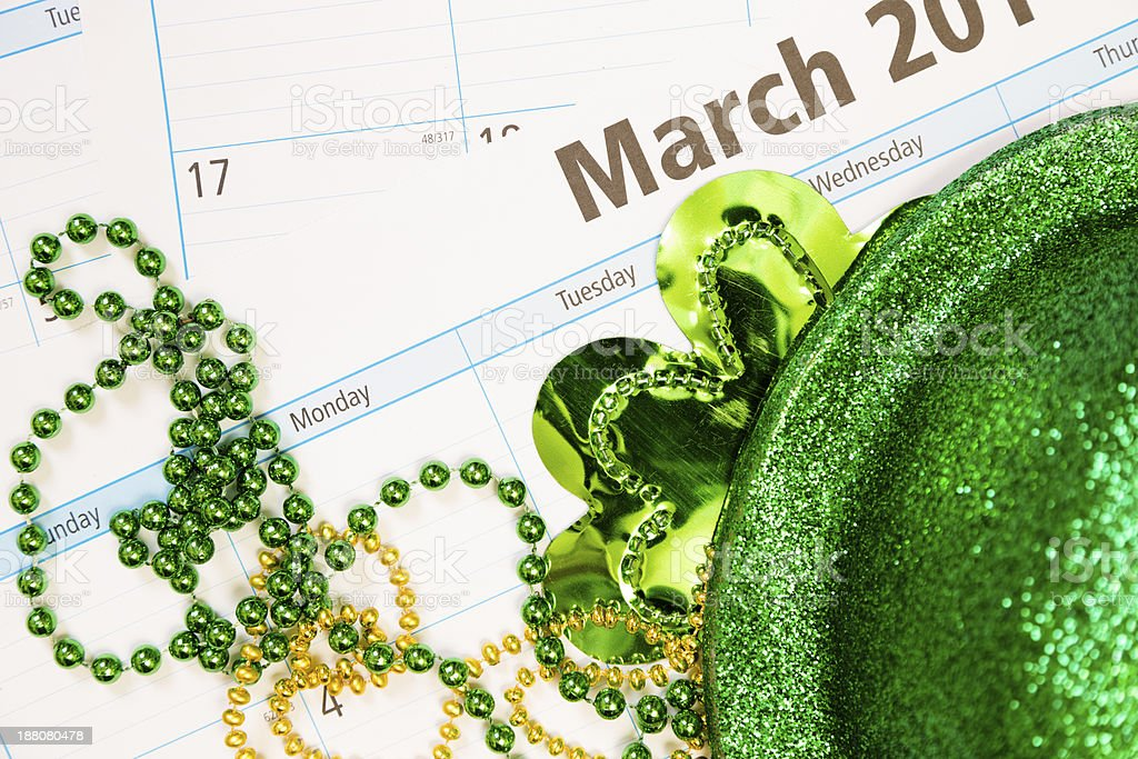 Holidays: March calendar with St. Patrick's Day decor. stock photo