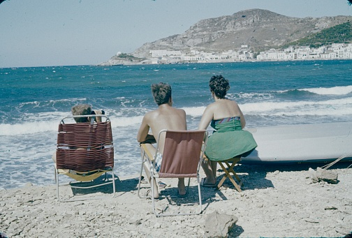 Spain, 1965. Holidaymakers on the beach look at the sea (exact location unfortunately unknown).