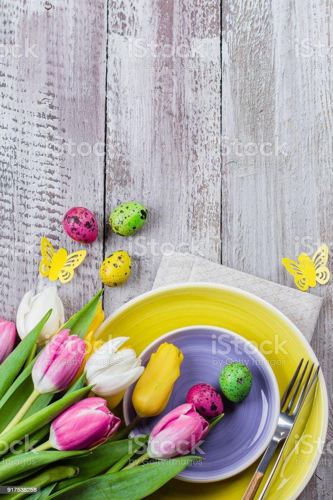 Ferien Fruhjahr Hintergrund Ostern Tischdekoration Mit Fruhling