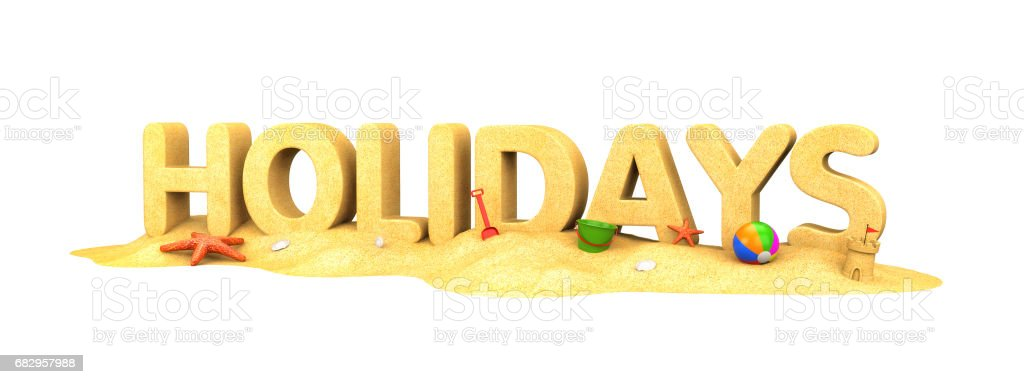 Holidays - the word of sand. 3d illustration royalty-free stock photo