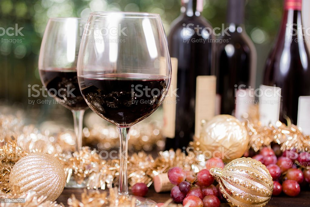 Wine tasting event at Christmas party. Red wine selections on outdoor...