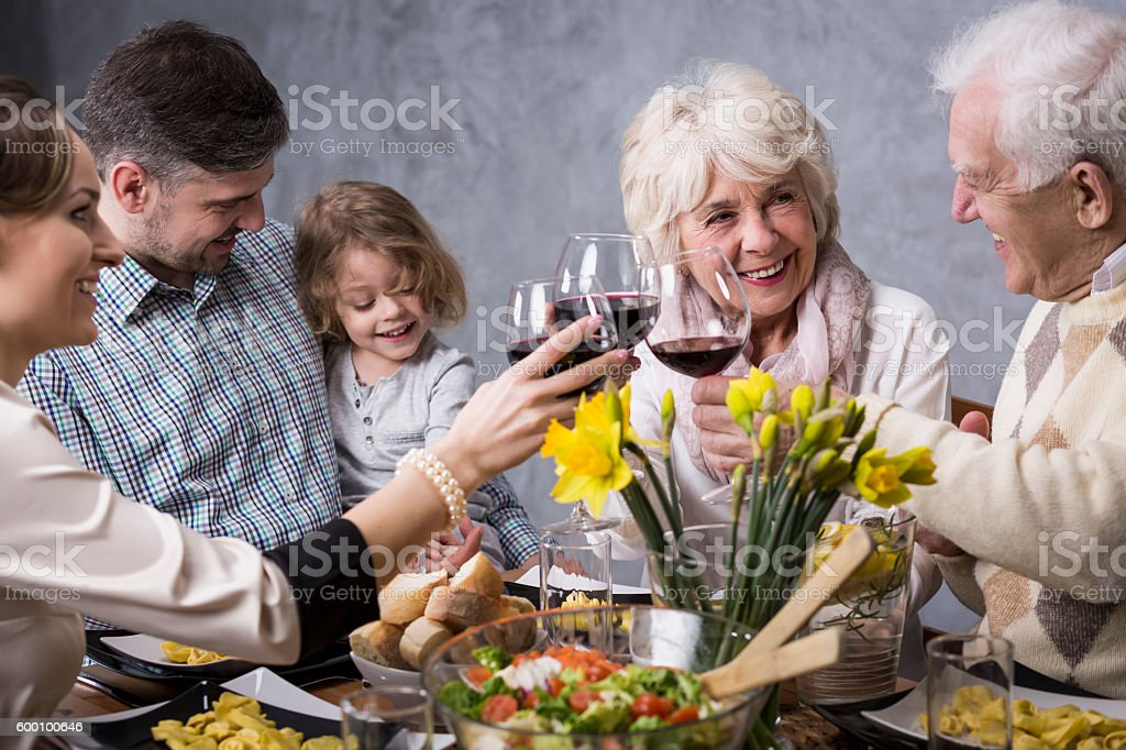 Holidays with family are always happy stock photo