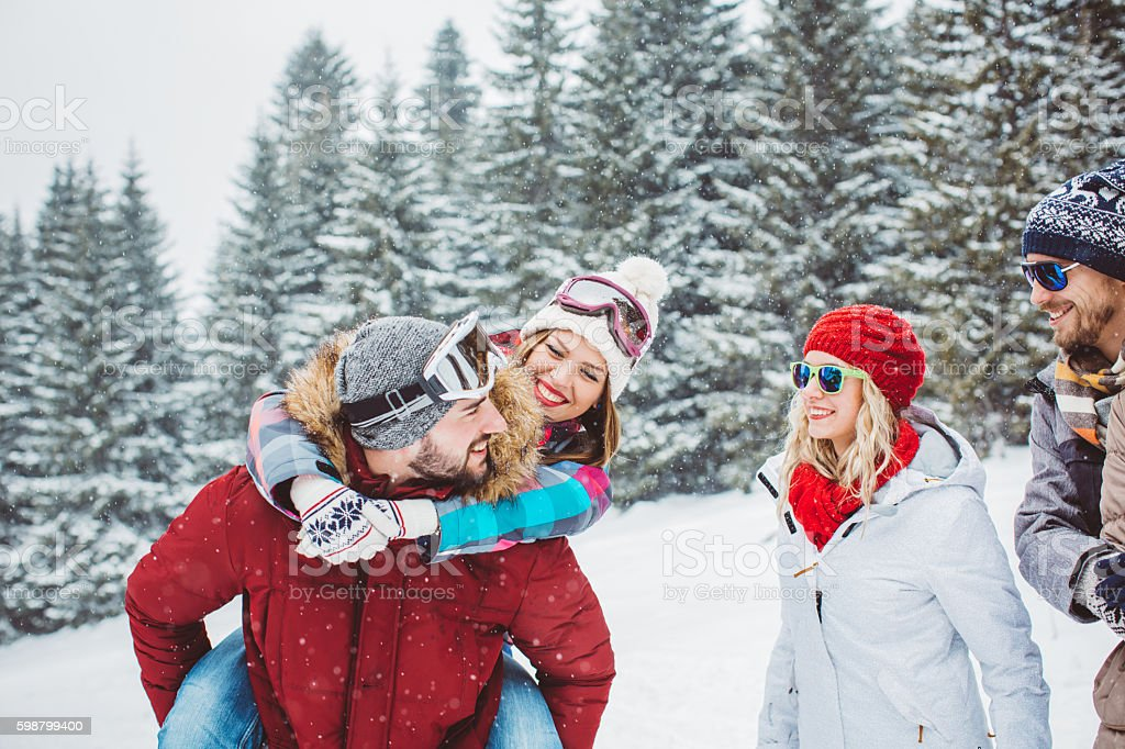 Holidays with friends stock photo
