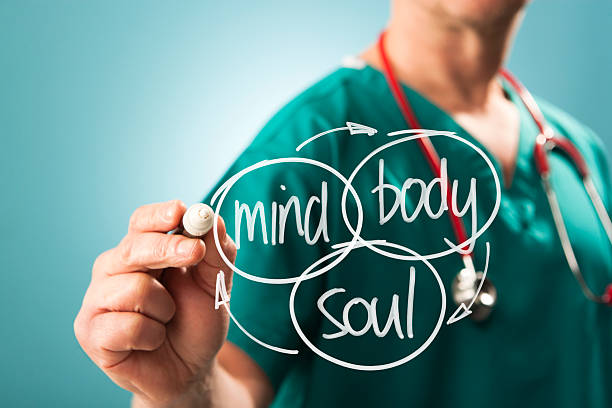 holistic approach mind body and soul - naturopathy stock photos and pictures