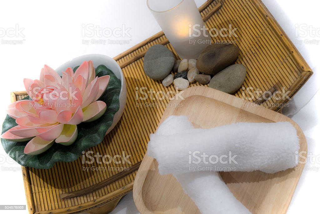 Holistic Health Spa With Lotus Flower And Healing Stones Stock Photo