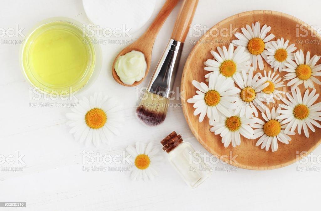 Holistic homemade herbal cosmetics with camomile, essential oils, bowls, facial cream stock photo