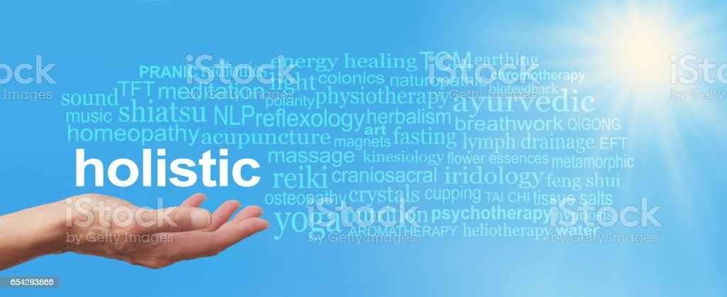 Holistic Therapy Blue Sky Word Cloud stock photo