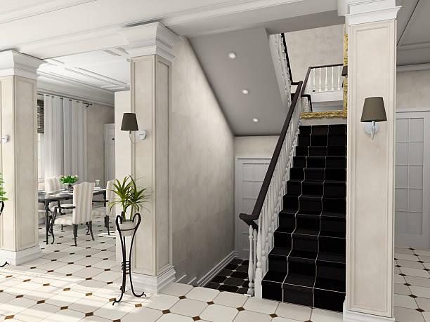 holl mit der klassischen treppe - wandleuchte treppenhaus stock-fotos und bilder