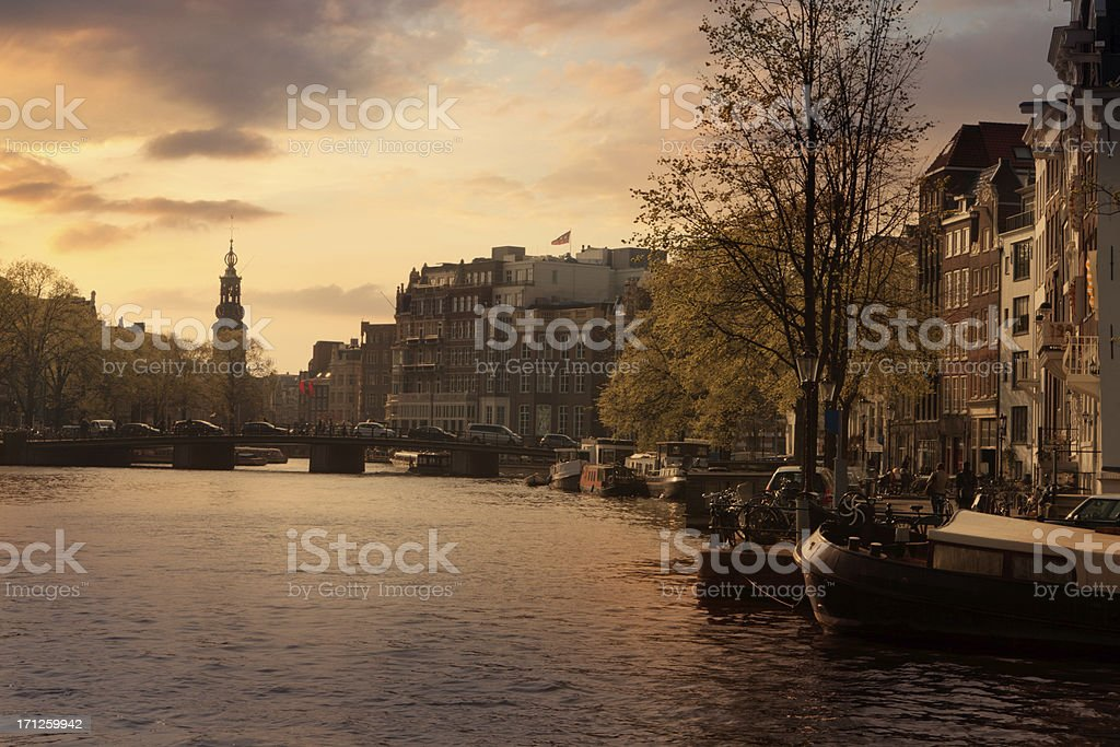 Holland: Amsterdam - Amstel River and Munt stock photo