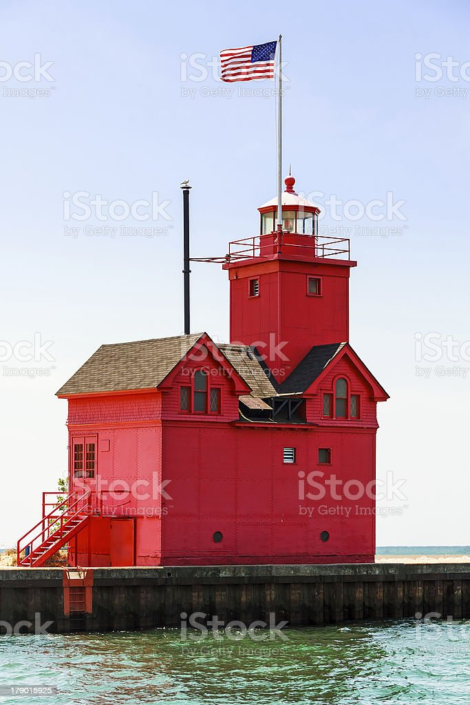 Holland Big Red Lighthouse stock photo