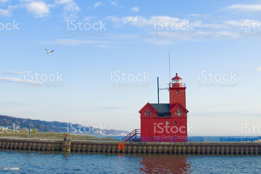 Holland Harbor Lighthouse stock photo