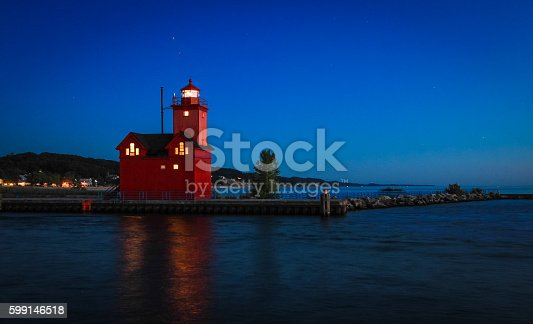 istock Holland Michigan Lighthouse At Night 599146518