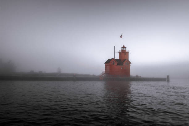 Holland Michigan Lighthouse In The Fog stock photo