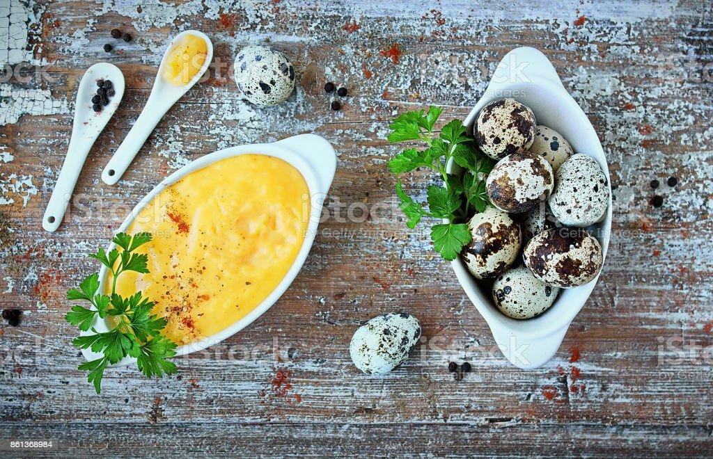 Hollandaise sauce, a basic sauce of the French cuisine stock photo