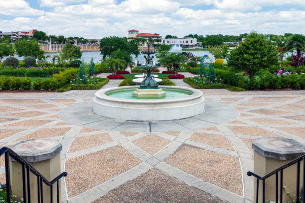Hollis Gardens and urban park overlooking a small lake in Lakeland, Florida