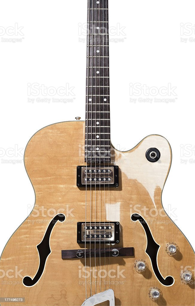 Hollow body electric guitar isolated on white background stock photo