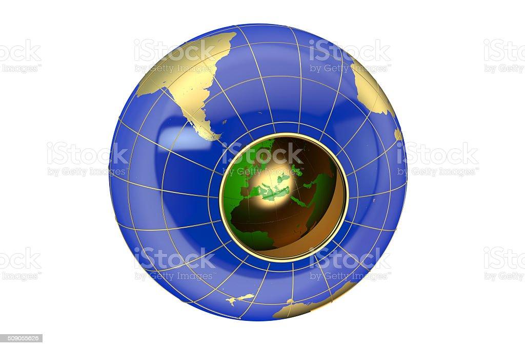 Hollow Earth concept stock photo