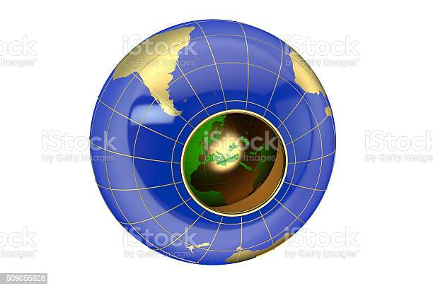 Hollow Earth concept isolated on white background