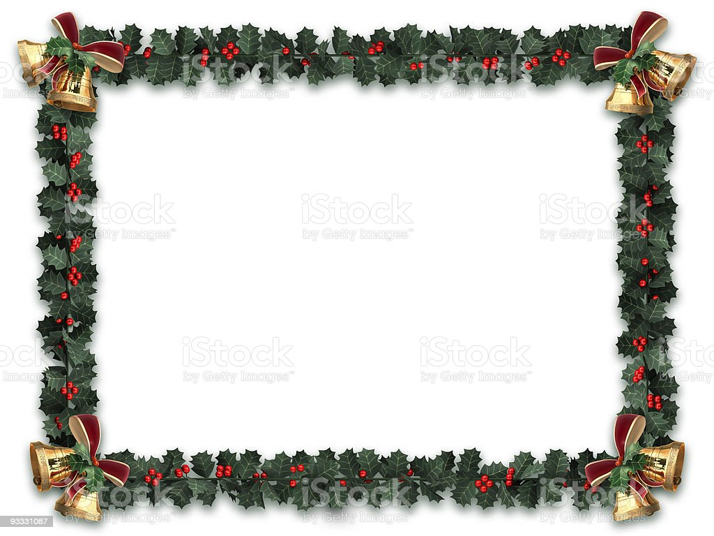Holly Border isolated on white stock photo