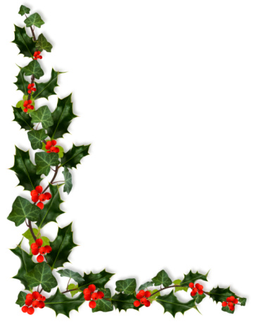 Holly and Ivy Christmas corner, isolated on white.