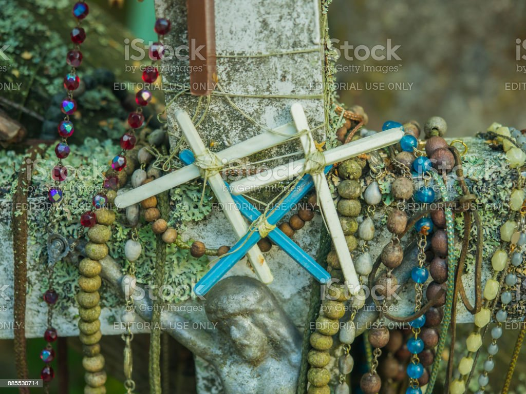 Holly crosses in Grabarka stock photo