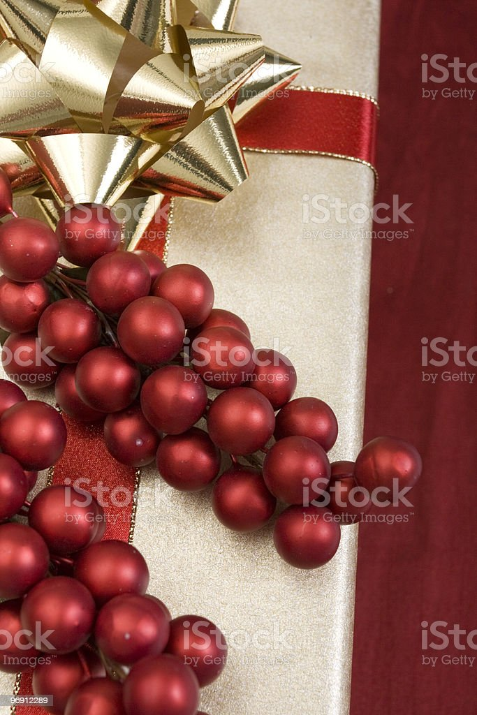 Holly on Christmas present royalty-free stock photo