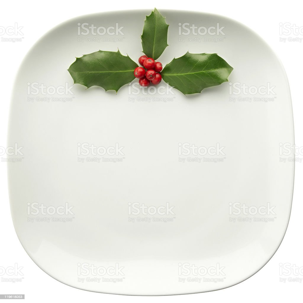 holly on plate royalty-free stock photo