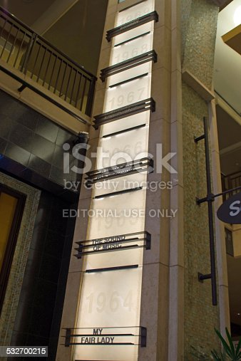 Los Angeles, USA - April 19, 2014: Outside the Dolby Theatre on Hollywood and Highland are a number of columns which depict the winners of the best film oscar for each year. This column shows the winners in the late 1960s.