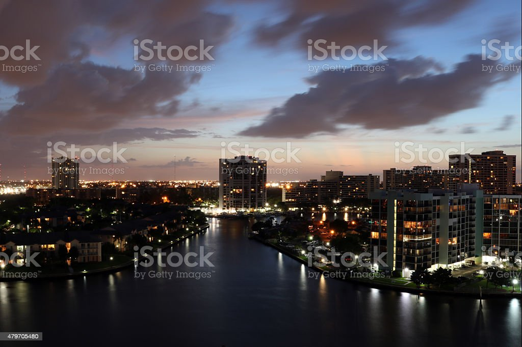 Hollywood Beach Florida at night stock photo
