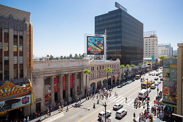 Hollywood Blvd by Day Los Angeles, USA - 5 July: A view over busy Hollywood Boulevard towards the Roosevelt Hotel on a summer's day in 2014. hollywood boulevard stock pictures, royalty-free photos & images