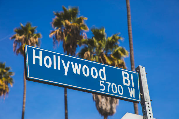 Hollywood Blvd A stock photo of a Hollywood blvd road sign in Los Angeles, California. hollywood boulevard stock pictures, royalty-free photos & images