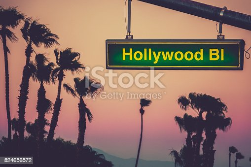 A Hollywood Blvd Sign At Sunset WIth Palm Trees In Los Angeles