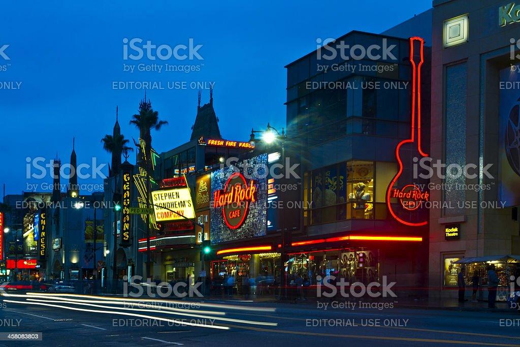 Hollywood Boulevard at Night stock photo