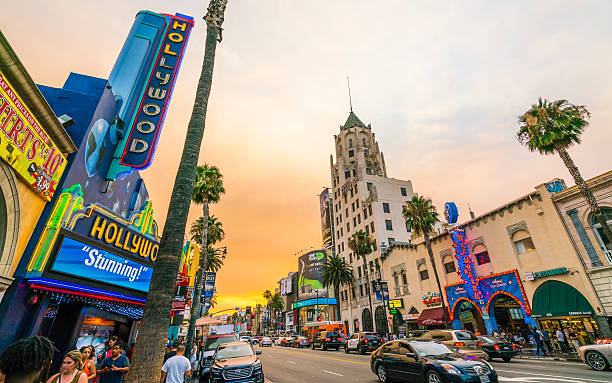 Hollywood boulevard at sunset ,Los Angeles,California,usa. Los Angeles,California,usa. - July 23, 2016: Los Angeles,California,usa. 2016/07/23:Hollywood boulevard,blvd, road at sunset,Los Angeles,California,usa. hollywood boulevard stock pictures, royalty-free photos & images