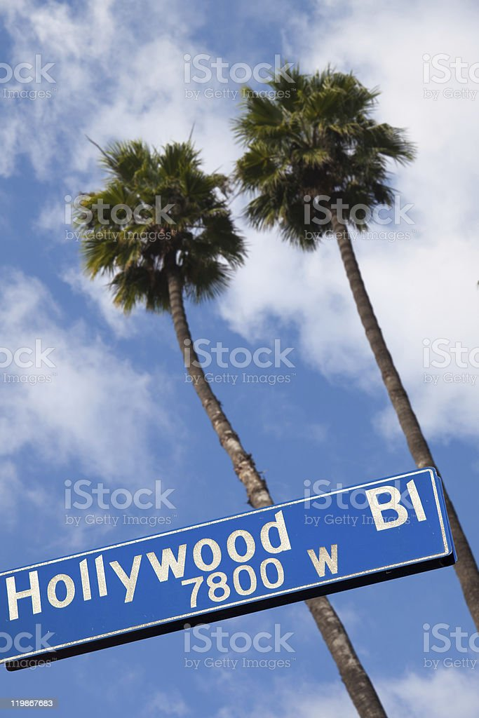 Hollywood boulevard plate with palm trees stock photo