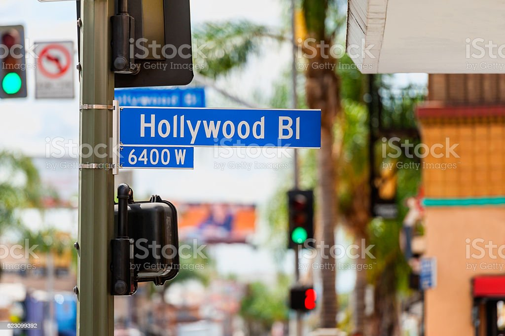 Hollywood Boulevard Road Sign in Los Angeles stock photo