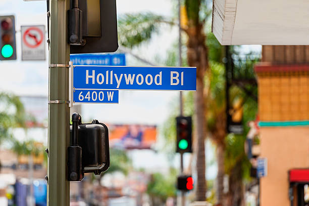 Hollywood Boulevard Road Sign in Los Angeles Hollywood Boulevard Road Sign in Hollywood, Los Angeles, California, USA. hollywood boulevard stock pictures, royalty-free photos & images