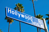 'Angled view of the Hollywood boulevard sign, with palm trees in the background'