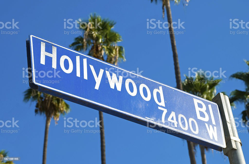 Hollywood Boulevard sign and Palm Trees stock photo