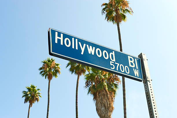 Hollywood Boulevard sign Hollywood Boulevard sign with palm trees hollywood boulevard stock pictures, royalty-free photos & images