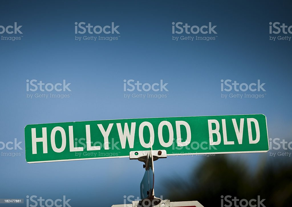 Hollywood Boulevard street sign royalty-free stock photo