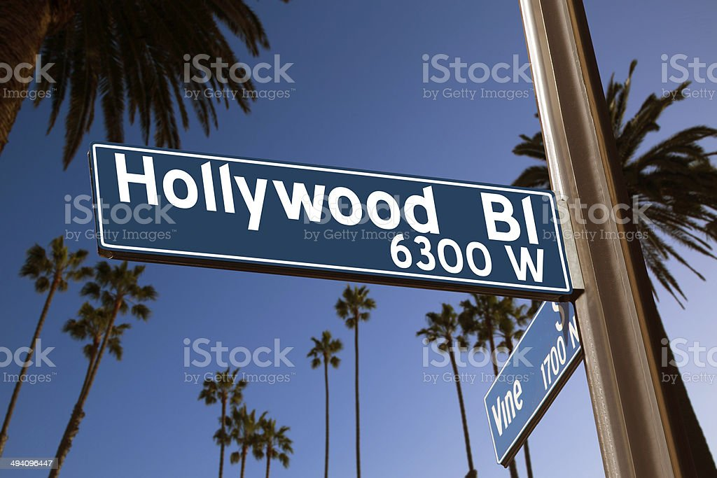 Hollywood Boulevard with  sign illustration on palm trees stock photo