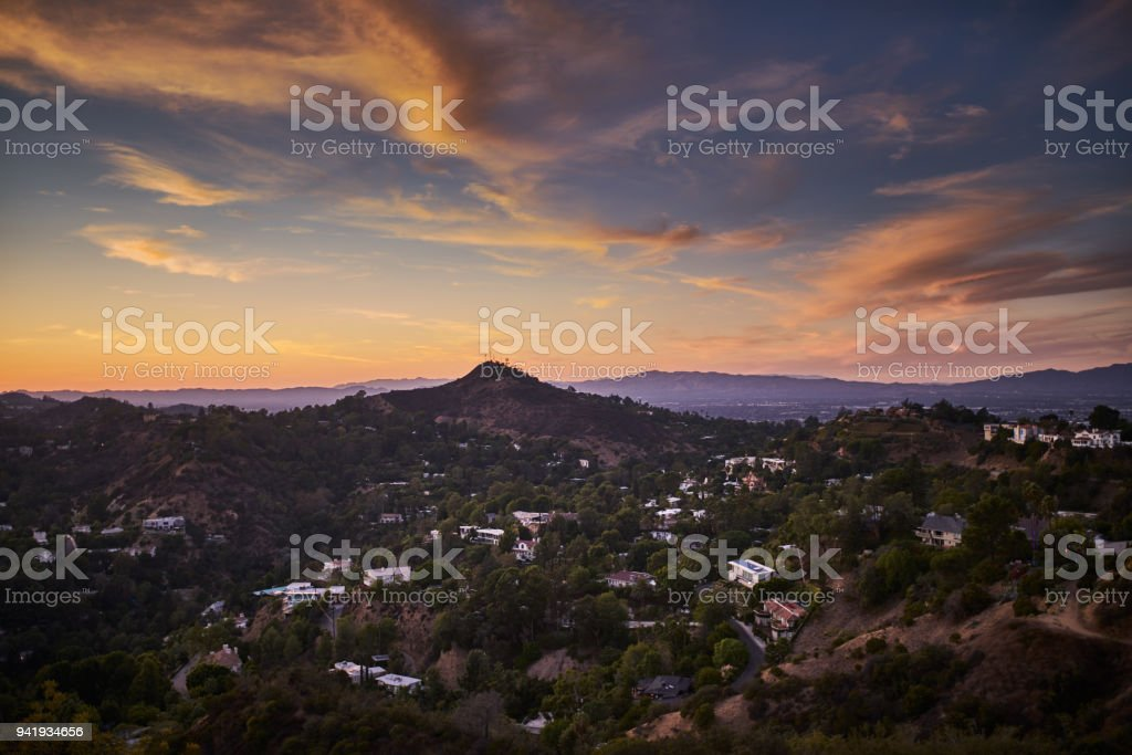 hollywood hills at dusk with colorful sky royalty-free stock photo