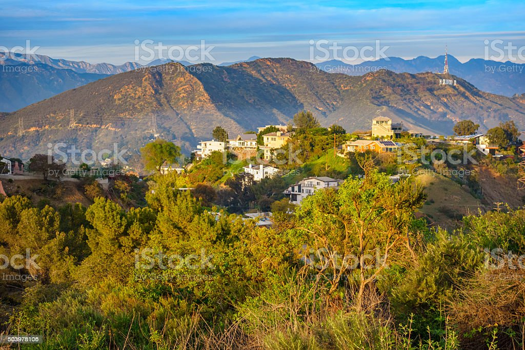 Hollywood Hills Landscape With Mansions Los Angeles Royalty Free Stock Photo
