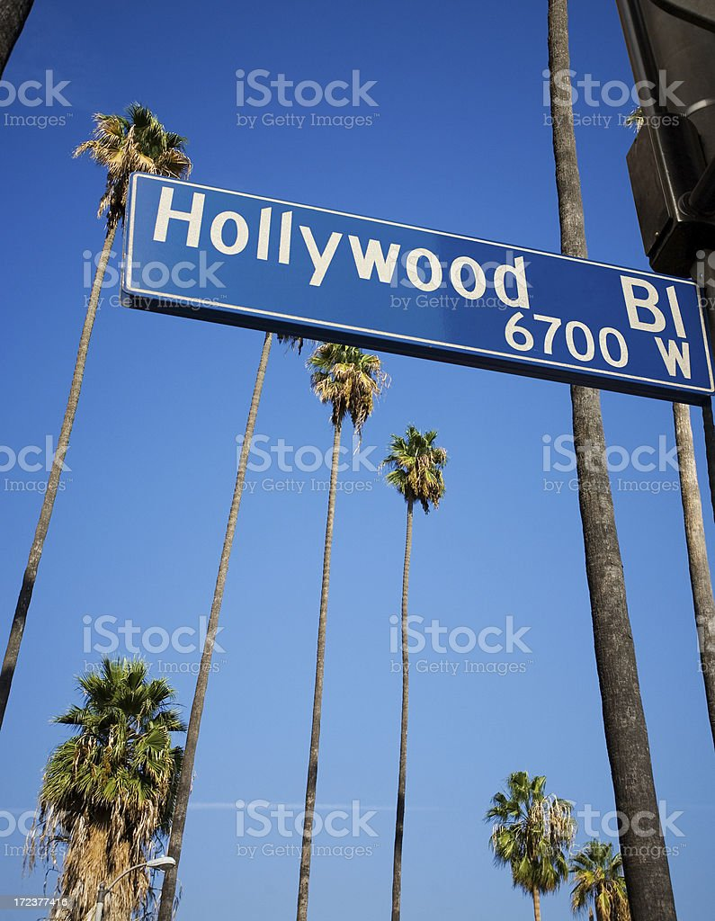 Hollywood Road Sign With Palm Trees In The Background royalty-free stock photo
