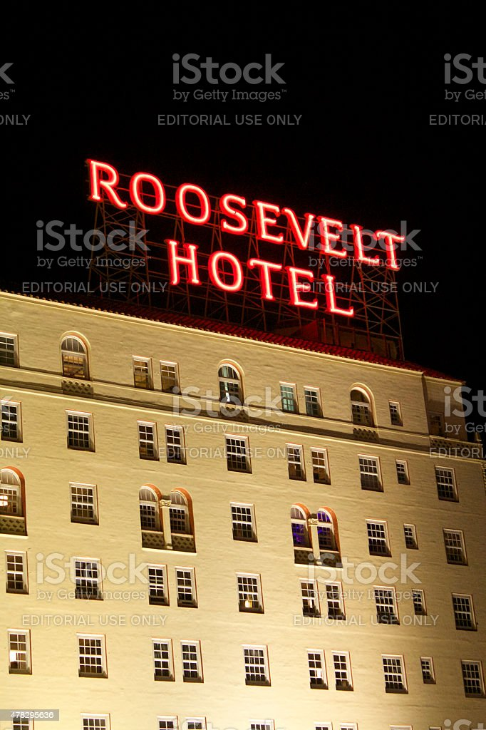 Hollywood Roosevelt Hotel in Los Angeles stock photo