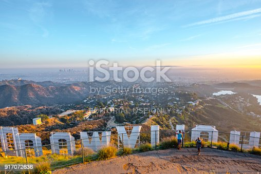 Hollywood Sign And Los Angeles Looking From Behind Stock Photo More Pictures Of 2018